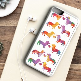 website SDWC203 Sausage Dog Water Colour Black White Grid Iphone 7 white - Dachshund Sausage Dog Water Colour Pattern Phone Case