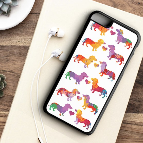 website SDWC203 Sausage Dog Water Colour Iphone 7 black - Dachshund Sausage Dog Water Colour Pattern Phone Case