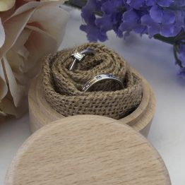 Hessian ring box - Personalised Floral Names & Date Wooden Wedding Ring Box