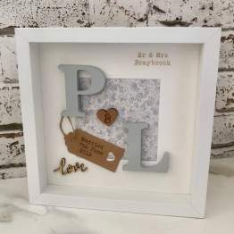 Personalised Initials Mr & Mrs Name Date - Picture Frame - Wedding Present Gift