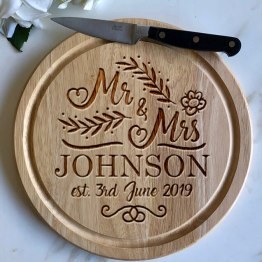 Mr Mrs Name Date Apollo Round Board - Persoanlised Wedding Name & Date Chopping Board