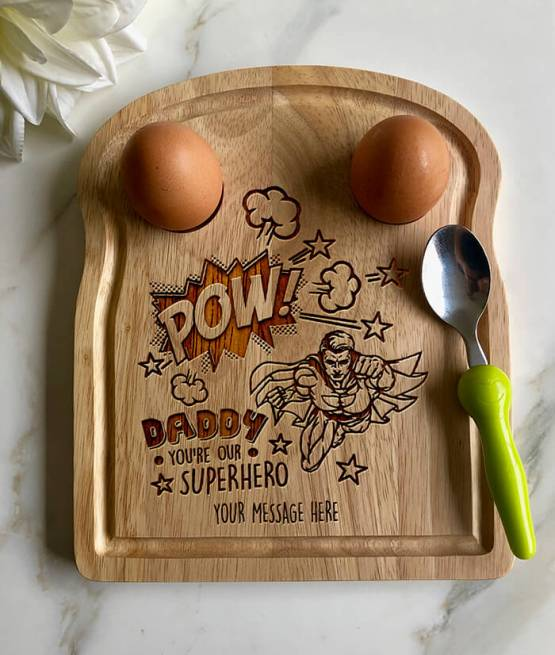 SUPER HERO DAD Apollo Egg Toast Board - Personalised Daddy Your Our Superhero - Egg Breakfast Board