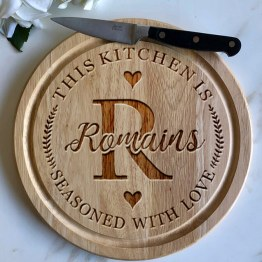 This Kitchen Is Seasoned With Love Apollo Round Board - Fashion & Accessories