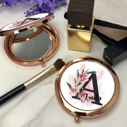 Personalised Name Floral Letter Round Rose Gold Compact Mirror - Homeware