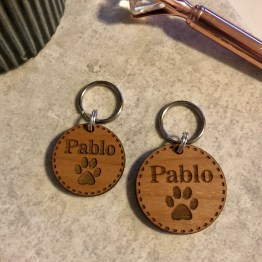 Round Pet Tag - Personalised Wooden Pet ID Tag Gift
