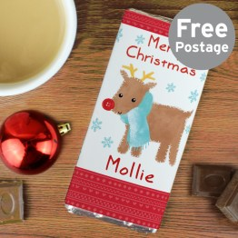 Personalise this Felt Stitch Reindeer Chocolate Bar with a name