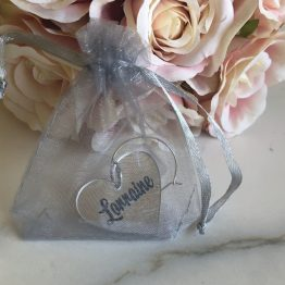Charm Bag - Personalised Names - Wine Glass Heart Charms