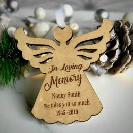 Personalised Name and Date Angel Wooden Christmas Decoration Wood Tree Gift - Personalised Angel Wooden Christmas Decoration Wood Tree Gift