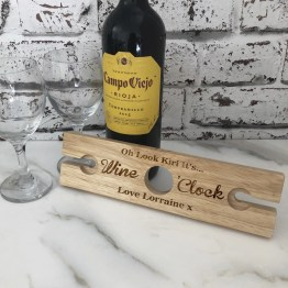Wine O Clock Wine Glass Holder - Personalised Name Message, Wine O Clock Wooden Wine Glass and Bottle Butler Holder