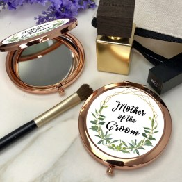 Greenery Mother of the groom 2 Round Rose Gold Compact Mirror - Mother of the Groom Rose Gold Compact Mirror