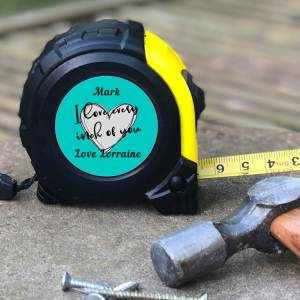 "personalisation & fast shipping. Buy Personalised Tape Measure you can customise with your own text to create a unique gift. with a romantic phrase, ""I love every inch of you"" & add your names. Great handyman gift for Valentine's Day, anniversaries & more."