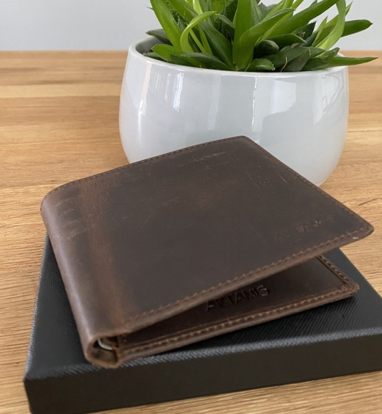 Edge View Brown Leather Wallet - Personalised Leather Brown Wallet, RFID Protected Anniversary Wedding Gift
