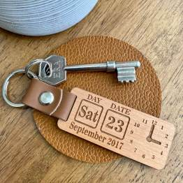 Persoanlised Clock Calendar Wooden Keyring - Fashion & Accessories