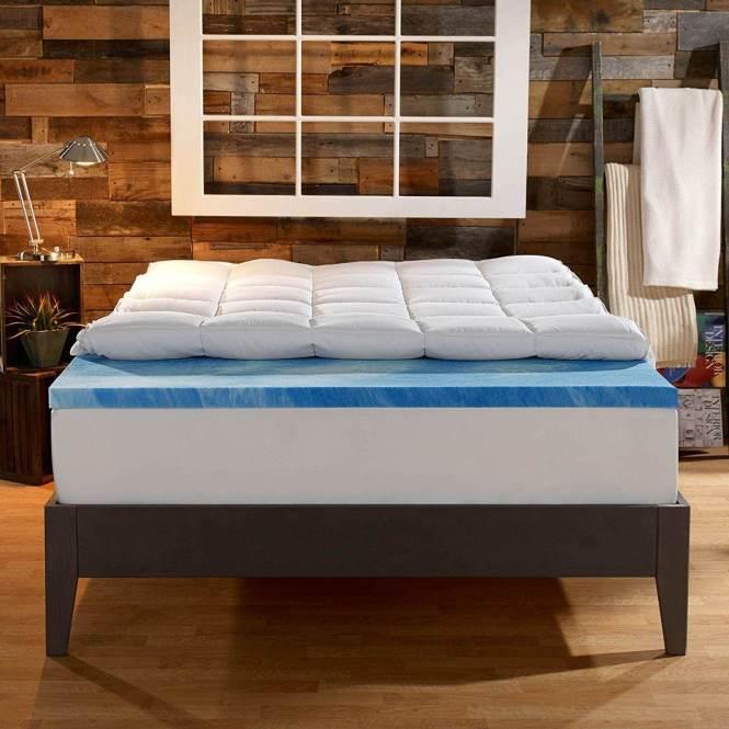 Sleep Innovations 4 Inch Dual Layer Gel Memory Foam Mattress Topper