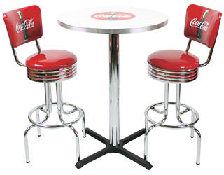 coca cola chairs and tables reclining makeup chair diner booths pub table high backed