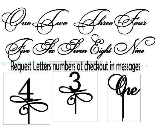 Acrylic cake toppers Numbers in letter or number form