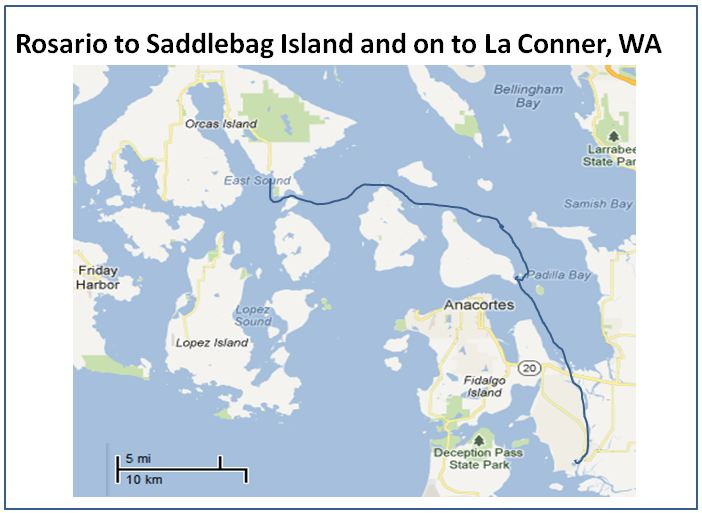 Rosario to Saddlebag Island to La Conner Map Memory Point Your