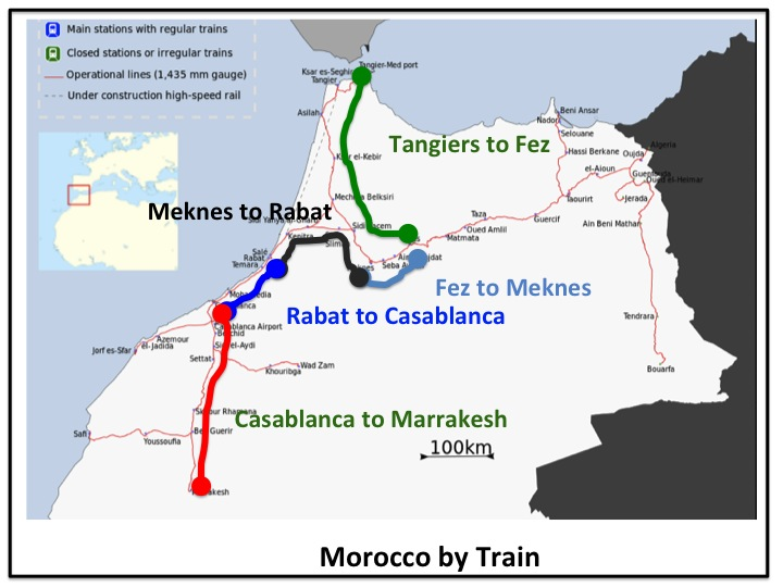 Routes Chuck and I will be taking to get around Morocco