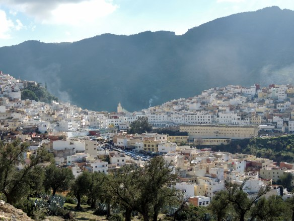The first site of the holy city of Moulay Idriss du Zerhoun as we come up the mounting road after leaving Volubilis.