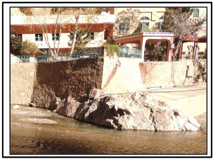 We entered Todra Gorge and went as far as Hotel Yasmina and the Kasbah Los Roches.  The Todra River appeared to just rise from the ground in front of Hotel Yasmine.