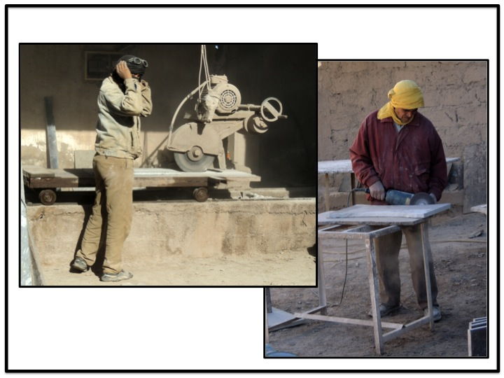 MFK works cut, shape and polish the fossilized marble into rough shapes before finishing the air work.