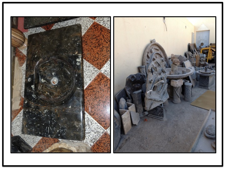 A sink made from MFK fossilized marble on the left, and other art works are shown on the right above.