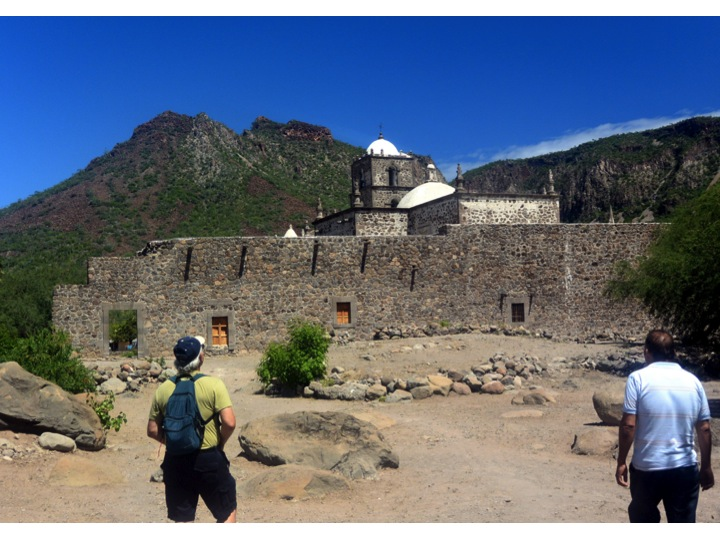 This is the backside of Mission San Javier.  Here we are returning to the mission after walking the gounds behind the mission.