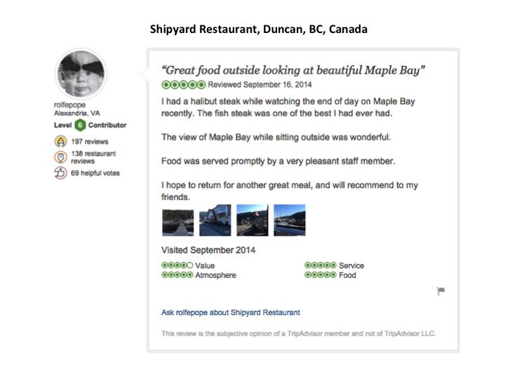 This is my Tripadvisor review of Shipyard.  Click on my review to see all of the restaurant's reviews on Tripadvisor.
