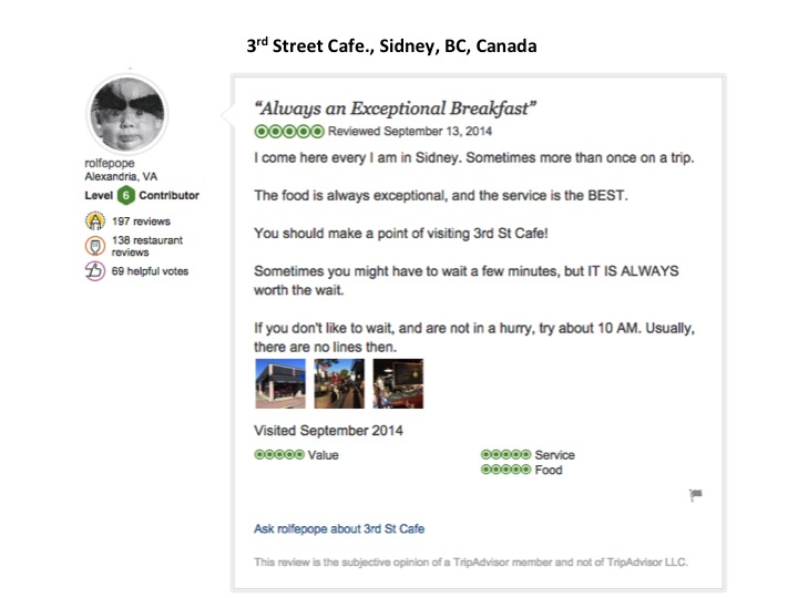 Click on the picture of my Tripadvisor 3rd Street Cafe review to all of the reviews.