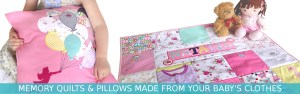 Memory blanket and memory pillows from baby clothes