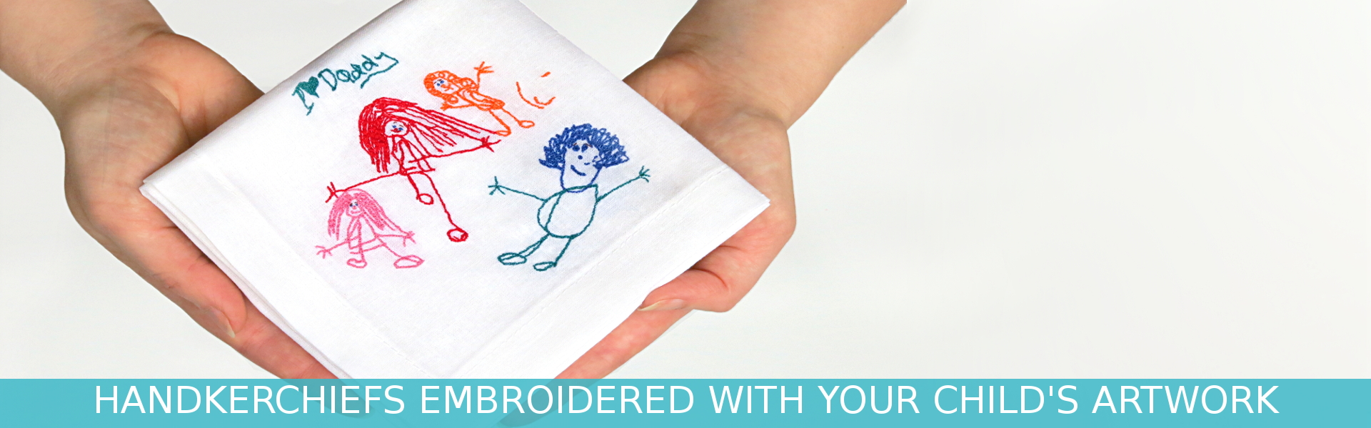 Embroidered handkerchief with your children's drawing