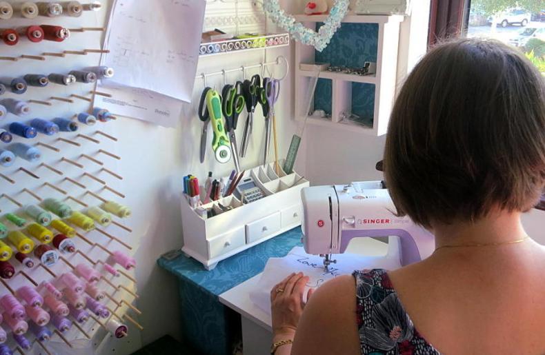 Catherine working in her studio