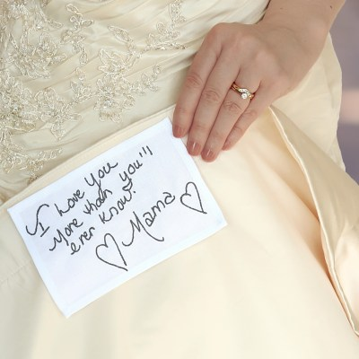 Personalised wedding dress label customised with actual handwriting embroidery