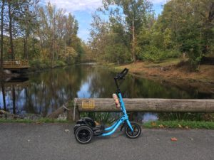 Blue Me-Mover on road crossing the Delaware and Lehigh Canal on an early autumn day