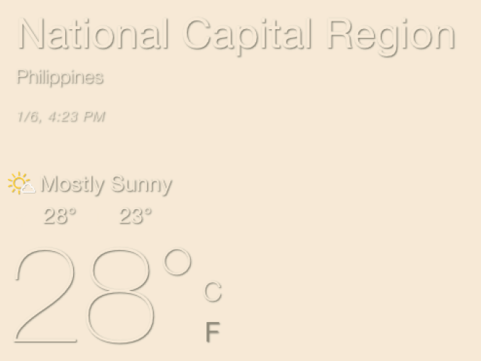 Screenshot showing weather for the National Capital Region of the Philippines on 1/6/19 at 4:23 pm. It is mostly sunny and 28 degrees F.