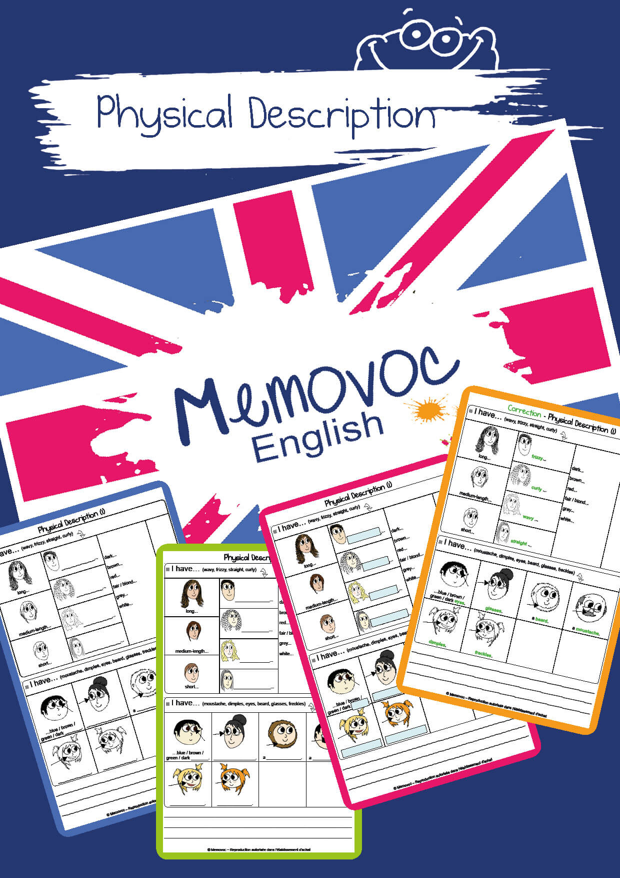 Physical Description Vocabulary Worksheets Memovoc