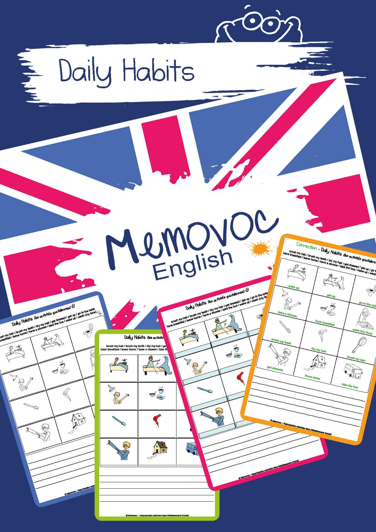 Daily Habits Vocabulary Worksheets Memovoc