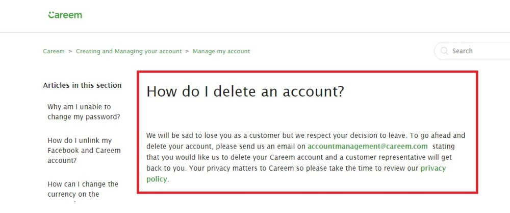 Careem doesn't have a delete button, account removal can