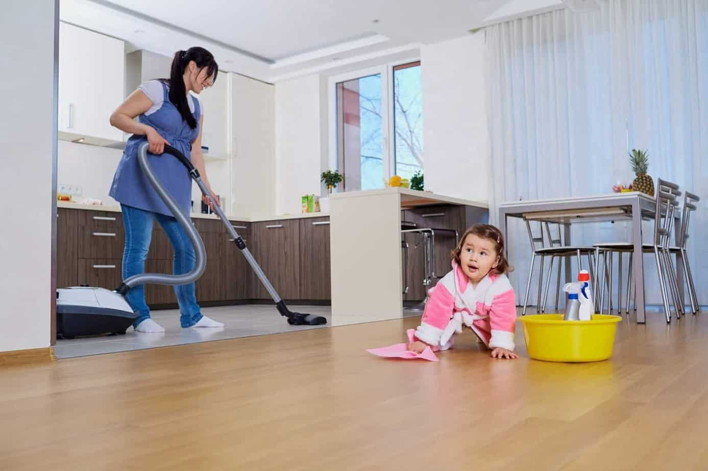 Mother and child cleaning room  Cleaning Services