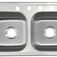 19x33 Kitchen Sink Wall Mount Faucet Lowes Tuscany Top 33 Stainless Steel 4 Hole Double Bowl At Menards