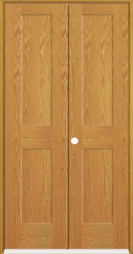 Mastercraft Oak Flat 2 Panel Prehung Interior Double Door