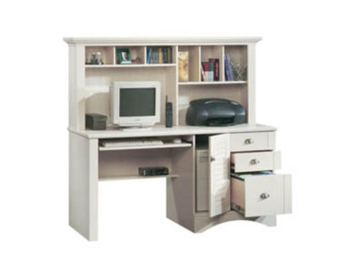 Sauder Harbor View Antiqued White Computer Desk with Hutch