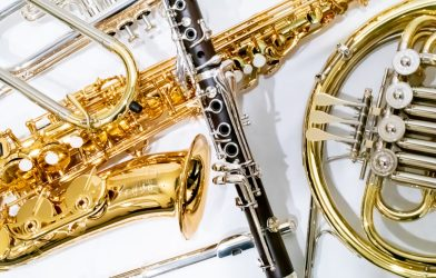 flute, clarinet, french horn, trumpet, saxophone