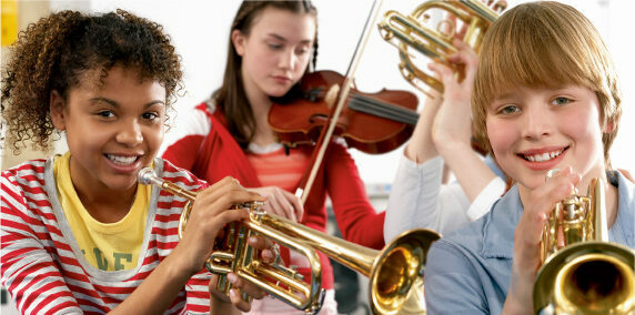 Students with trumpets and a violin