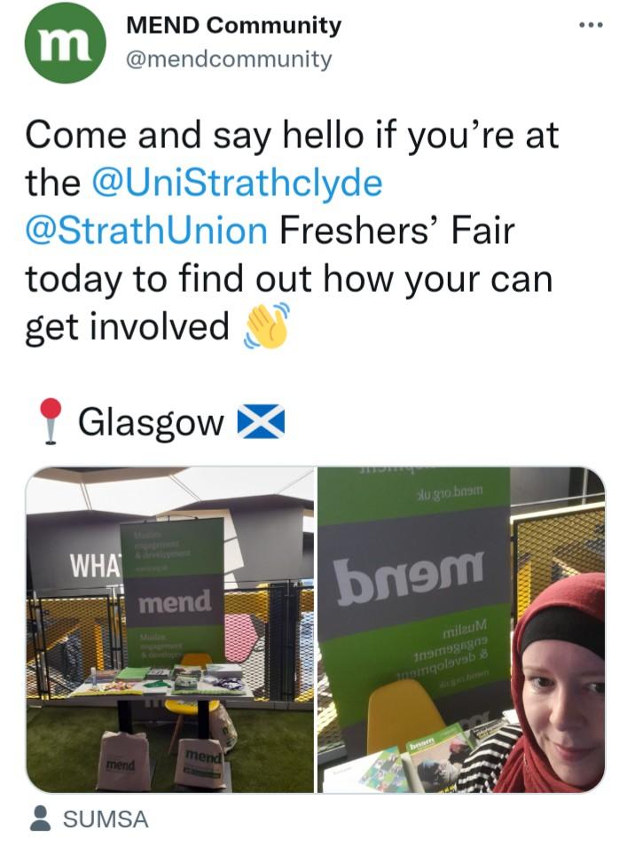 MEND Scotland: Freshers Fairs