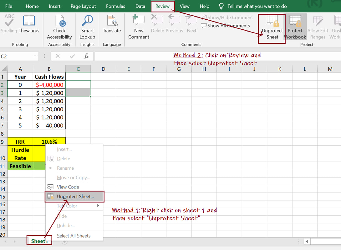 Protect And Unprotect Sheet In Excel