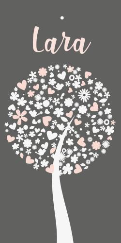 Label geboortekaartje hartjes boom