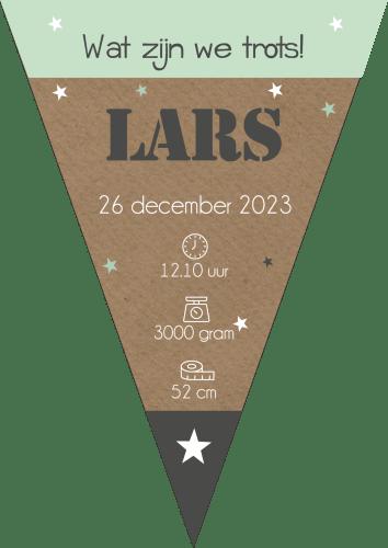 Vlaggenlijntje als geboortekaartje Lars
