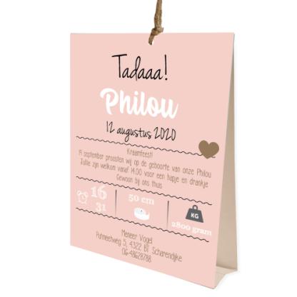 Tentkaartje geboortekaartje voor een meisje met kraft en roze