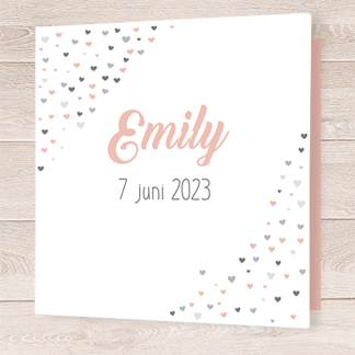Geboortekaartje met roze en grijze hartje